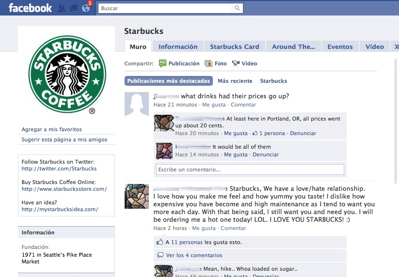 Página Starbucks Facebook