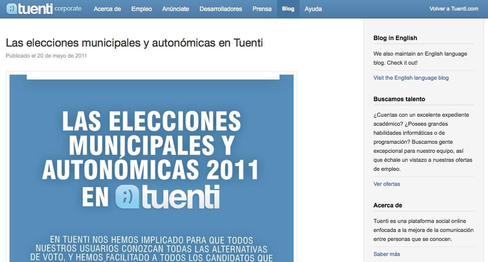 Blog corporativo de Tuenti